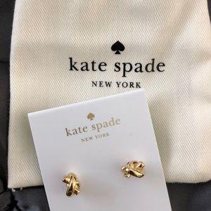 Kate spade knot earrings in gold